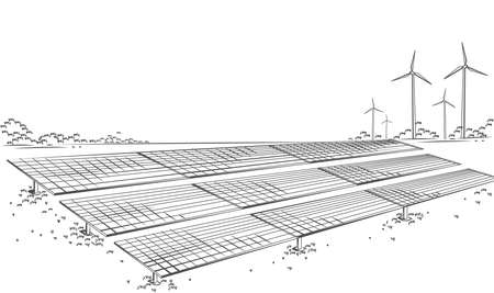 Solar panels and wind turbines or alternative sources of energy. Ecological sustainable energy supply. Vector illustration. Illustration