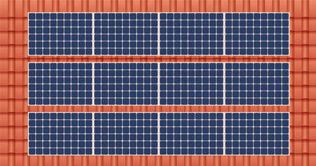 Solar panel on a roof of a house, concept of sustainable resources, vector illustration. Illusztráció