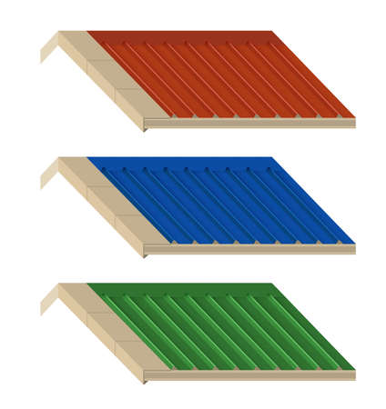 Roof with wave metal sheet cover Industrial building. vector illustration.