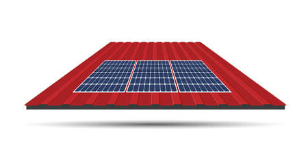 Solar panel on a roof of a house, concept of sustainable resources, vector illustration. Illustration