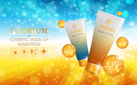 Hydrating facial sunscreen for annual sale or festival sale. orange and gold sunscreen mask bottle isolated on glitter particles background. Graceful cosmetic ads.