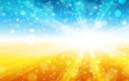summer sun light burst blue, yellow and orange background. Vector illustration.
