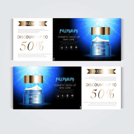 Gift voucher hydrating facial cream for annual sale or festival sale. silver and gold cream mask bottle isolated on glitter particles background. Banner graceful cosmetic ads, illustration.