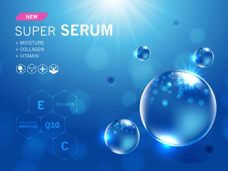 Collagen serum and vitamin, hyaluronic acid skin solutions with cosmetic advertising background ready to use. Illustration vector. Vecteurs