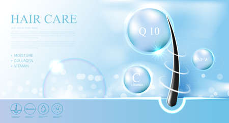 Hair care products, prevent split ends serum shampoo, cosmetics concept, vector.