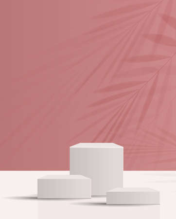Cosmetic background for product, branding and packaging presentation. geometry form circle molding on podium stage pink background. vector. Stock Illustratie