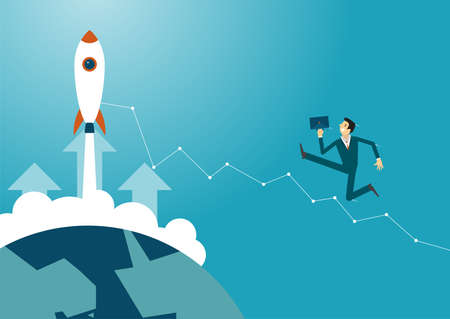 Business illustration concept of businessman jumping over obstacles like hurdle race. business concept.