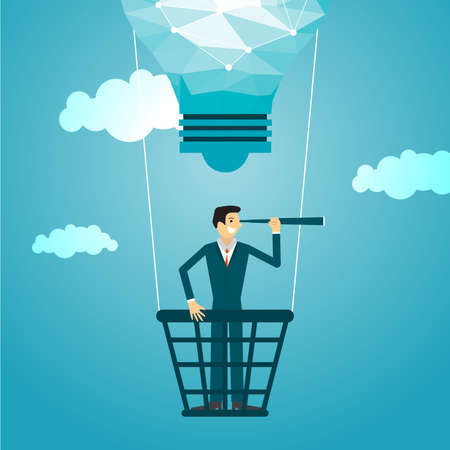 Business illustration concept of businessman advertising. business concept.