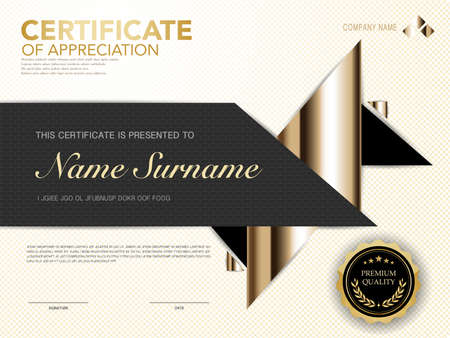 diploma certificate template black and gold color with luxury and modern style image.