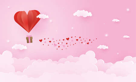 Origami made hot air balloon flying on the sky with heart float on the sky, illustration of love and valentine day, vector paper art and craft style.