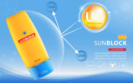 Sunblock ads template, sun protection cosmetic products design with moisturizer cream or liquid, sparkling background with glitter polka.