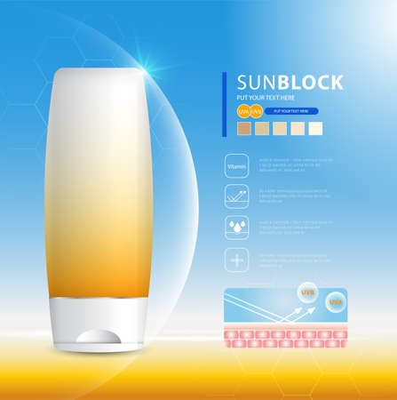 Sunblock ads template, sun protection cosmetic products design with moisturizer cream or liquid, sparkling background with glitter polka. Vecteurs