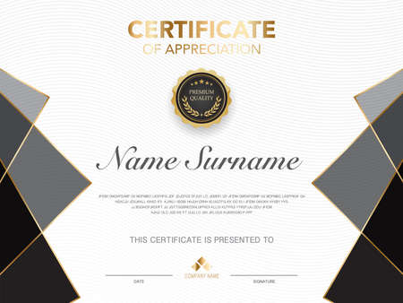 diploma certificate template black and gold color with luxury and modern style vector image, suitable for appreciation. Vector illustration