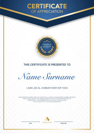 diploma certificate template blue and gold color with luxury and modern style vector image, suitable for appreciation. Vector illustration