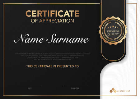 Certificate template black and gold with luxury style image. Diploma of geometric modern design. eps10 vector. Vektorgrafik