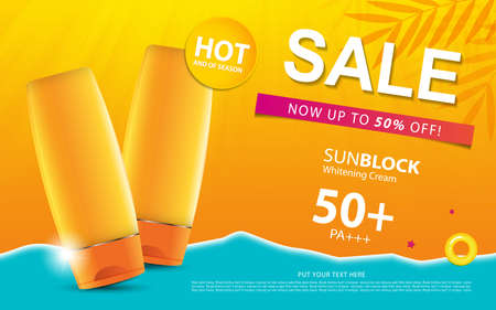 Sunblock ads template or sale of season, sun protection cosmetic products design with moisturizer cream or liquid, sparkling background with glitter polka, vector design.