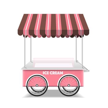 Ice cream cart on white background vector design.