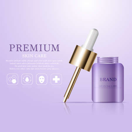 Hydrating facial serum for annual sale or festival sale. purple and gold serum mask bottle isolated on glitter particles background. Graceful cosmetic ads, illustration.