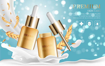 Hydrating facial serum for annual sale or festival sale. silver and gold serum mask bottle isolated on glitter particles background. Graceful cosmetic ads, illustration.