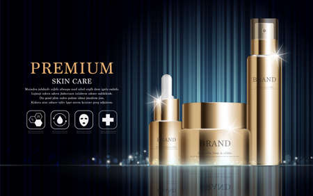 Hydrating facial cream for annual sale or festival sale. gold cream mask bottle isolated on glitter particles background. Graceful cosmetic ads, illustration.