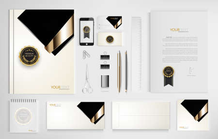 Set of office documents for business, Include laptop, tablet, smartphone, pen, pencils, paperclip, business cards, envelope, document file, certificate, vector Illustration.