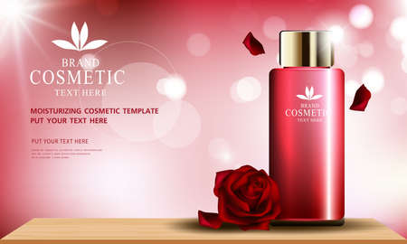 Rose skin care cosmetic product poster, bottle package design with moisturizer cream or liquid, sparkling background with glitter polka, vector design.
