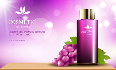 Grape seed skin care cosmetic product poster, bottle package design with moisturizer cream or liquid, sparkling background with glitter polka, vector design.