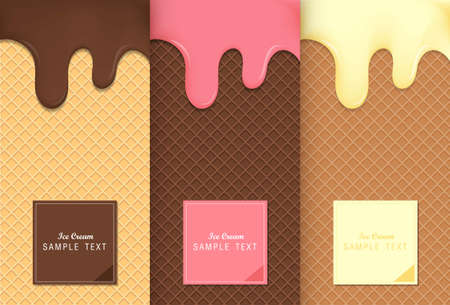 Flowing ice cream on wafer texture sweet food vector background design.