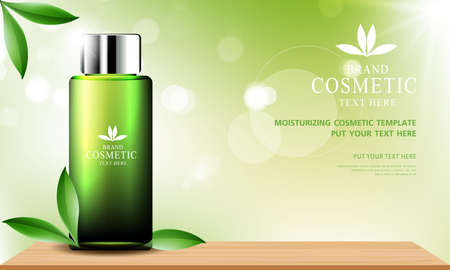 Green tea skin care cosmetic product poster, bottle package design with moisturizer cream or liquid, sparkling background with glitter polka, vector design.