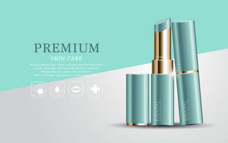 Hydrating facial lipstick for annual sale or festival sale. green and gold lipstick mask bottle isolated on glitter particles background. Graceful cosmetic ads, illustration. Illusztráció