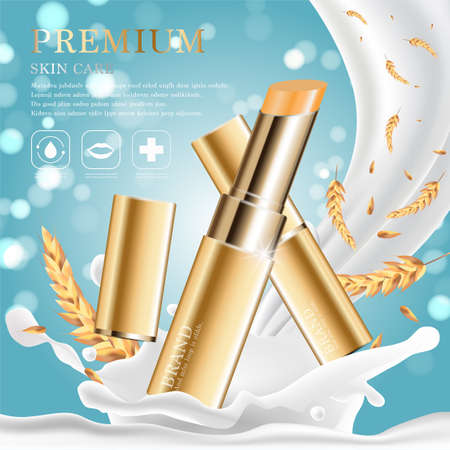 Hydrating facial lipstick for annual sale or festival sale. silver and gold lipstick mask bottle isolated on glitter particles background. Graceful cosmetic ads, illustration.