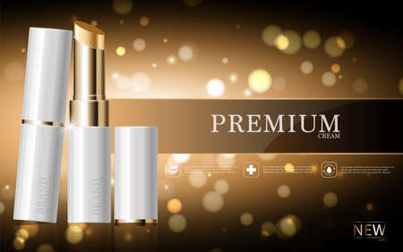 Hydrating facial lipstick for annual sale or festival sale. white and gold lipstick mask bottle isolated on glitter particles background. Graceful cosmetic ads, illustration.