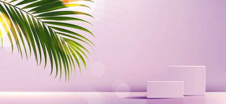 Cosmetic background for product, branding and packaging presentation. geometry form square molding on podium stage with tropical leaf background. vector design.