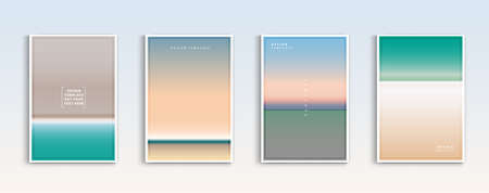 Modern gradients summer, the sea and the beach backgrounds vector set. color abstract background for app, web design, webpages, banners, greeting cards. Vector design.