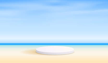 Cosmetic beach background and premium podium display for product presentation branding and packaging . studio stage with shadow of the sea and sky background. vector design. Vector Illustratie