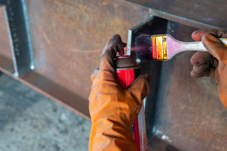 The step two of doing penetrant testing is step to use spray Liquid Penetrant into the brush before apply to the welded for Non-Destructive Testing(NDT) with process Penetrant Testing(PT).