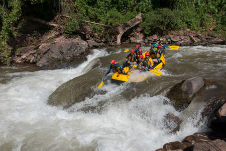 NAN, THAILAND on November 15, 2019 : White water rafting on the rapids of river mam va in NAN, Thailand. Mam Va river is one of the most dangerous rivers of Thailand.