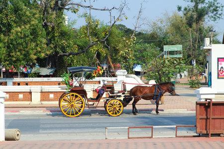 Landau Lampang at the front pratartlampangluang temple at Lampang Rai Thailand Photo taken on: Febuary 28th, 2011