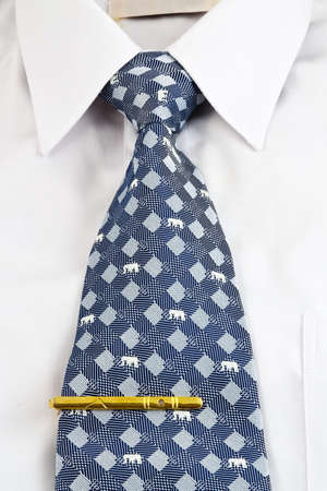 Closeup of white shirt and necktie with tie pin