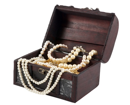 Pearl Necklace in the treasure box isolated on white background
