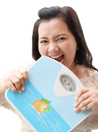 Image of woman holding weight scale and will bite weight scale photo