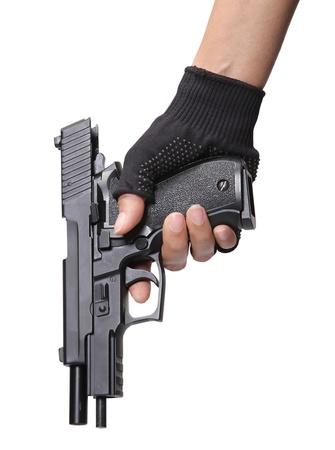 woman holding her pistol for loading ammunition on white background  Stock Photo