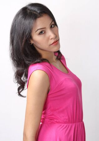 Image of beautiful asian woman fashion in pink dress Stock Photo