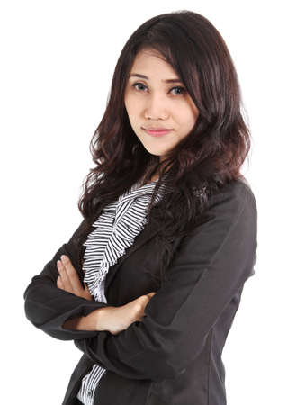 Image of asian business woman in black suit working at office Stock Photo
