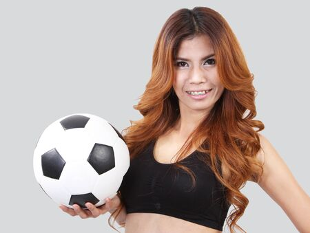Image of woman holding a football on her hand and white background Stock Photo - 18212063