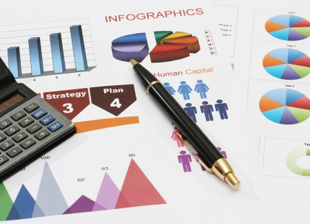 image of infographics for business report with pen and calculator