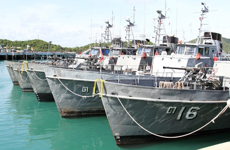 SATTAHEEP, THAILAND - MAY 11:Thailand coastal patrol craft stand by at navy base port on May 11, 2013 in Sattaheep, Chonburi, Thailand
