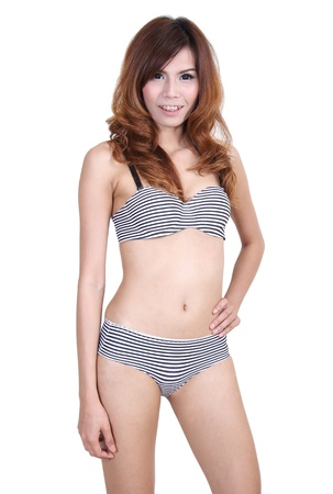 Image of asian woman in sexy bikini on summer and white background Stock Photo - 20147198
