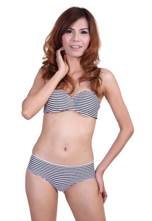 Image of asian woman in sexy bikini on summer and white background Stock Photo - 20147203