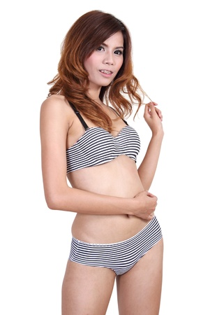 Image of asian woman in sexy bikini on summer and white background Stock Photo - 20147202